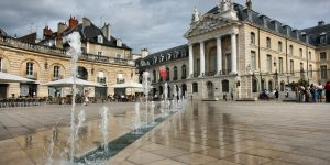 Liberation Square and the Palace of Dukes of Burgundy (Palais des ducs de Bourgogne) in Dijon, France.
